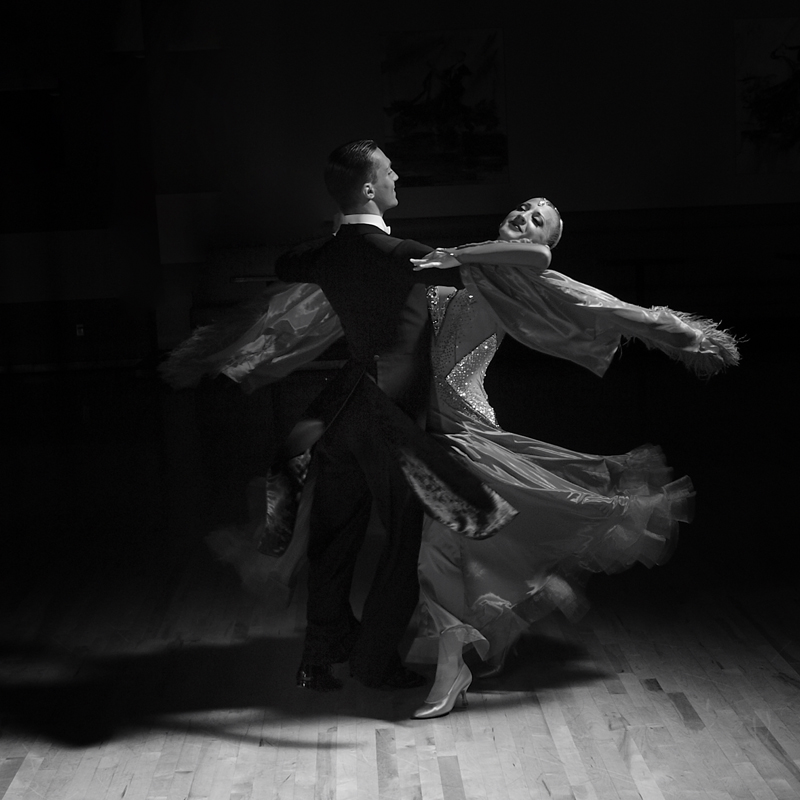 Igor Colac and<br /><br /> Roxane Milotti black and white Ballroom Dance Portrait